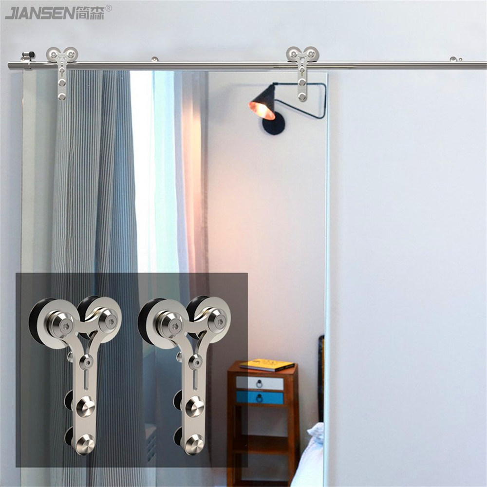 Wholesale stainless steel barn door hardware double-hm3004